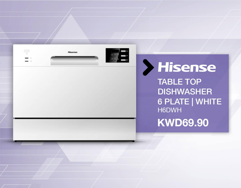 Hisense Table Top Dishwasher, 6 plate white kuwait online